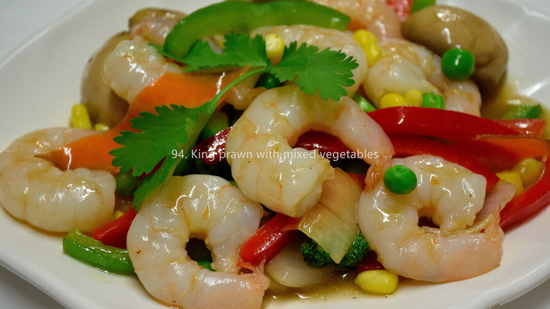 King prawn with mixed vegetables