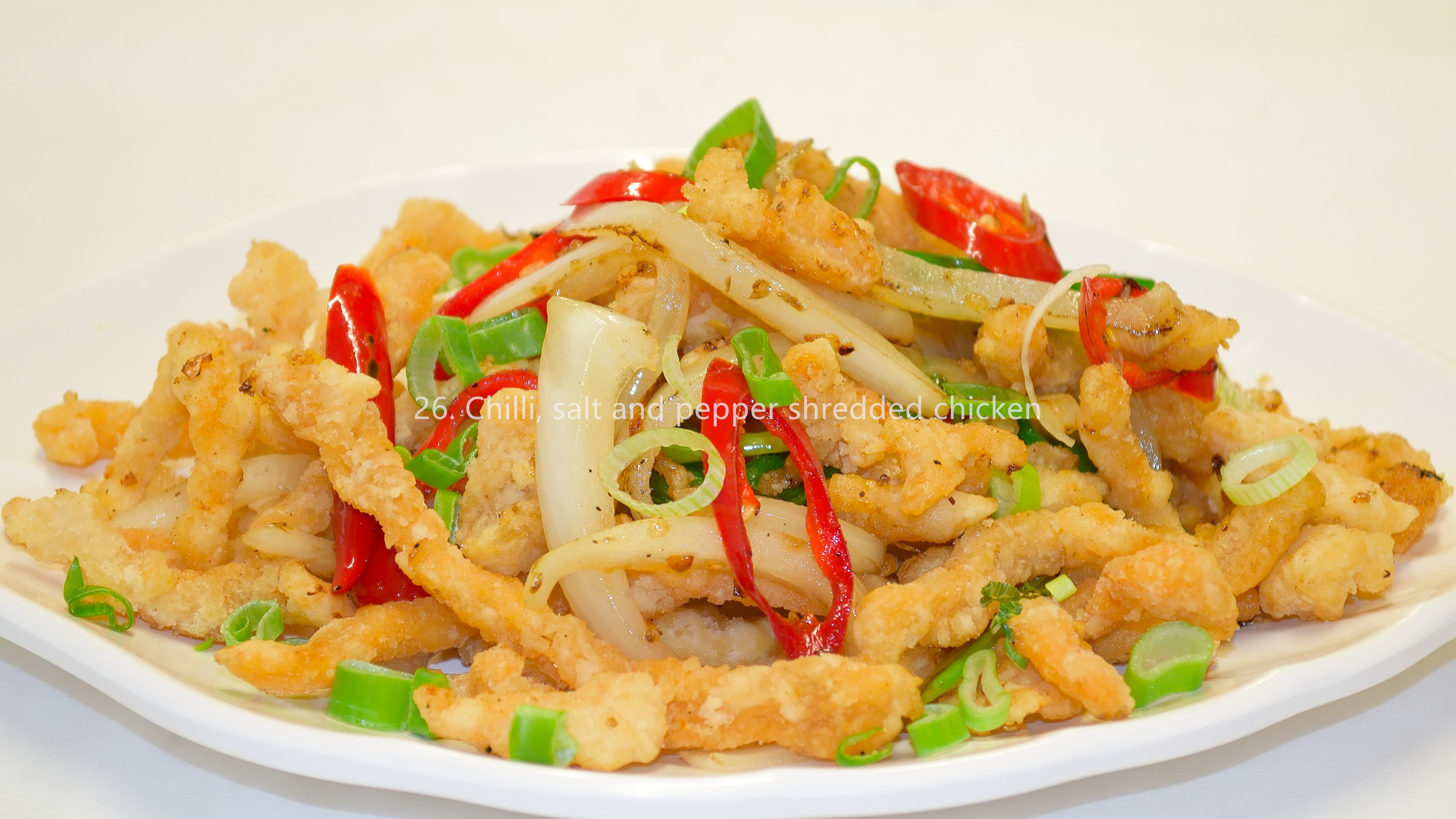 Chilli, salt and pepper shredded chicken 椒盐鸡丝