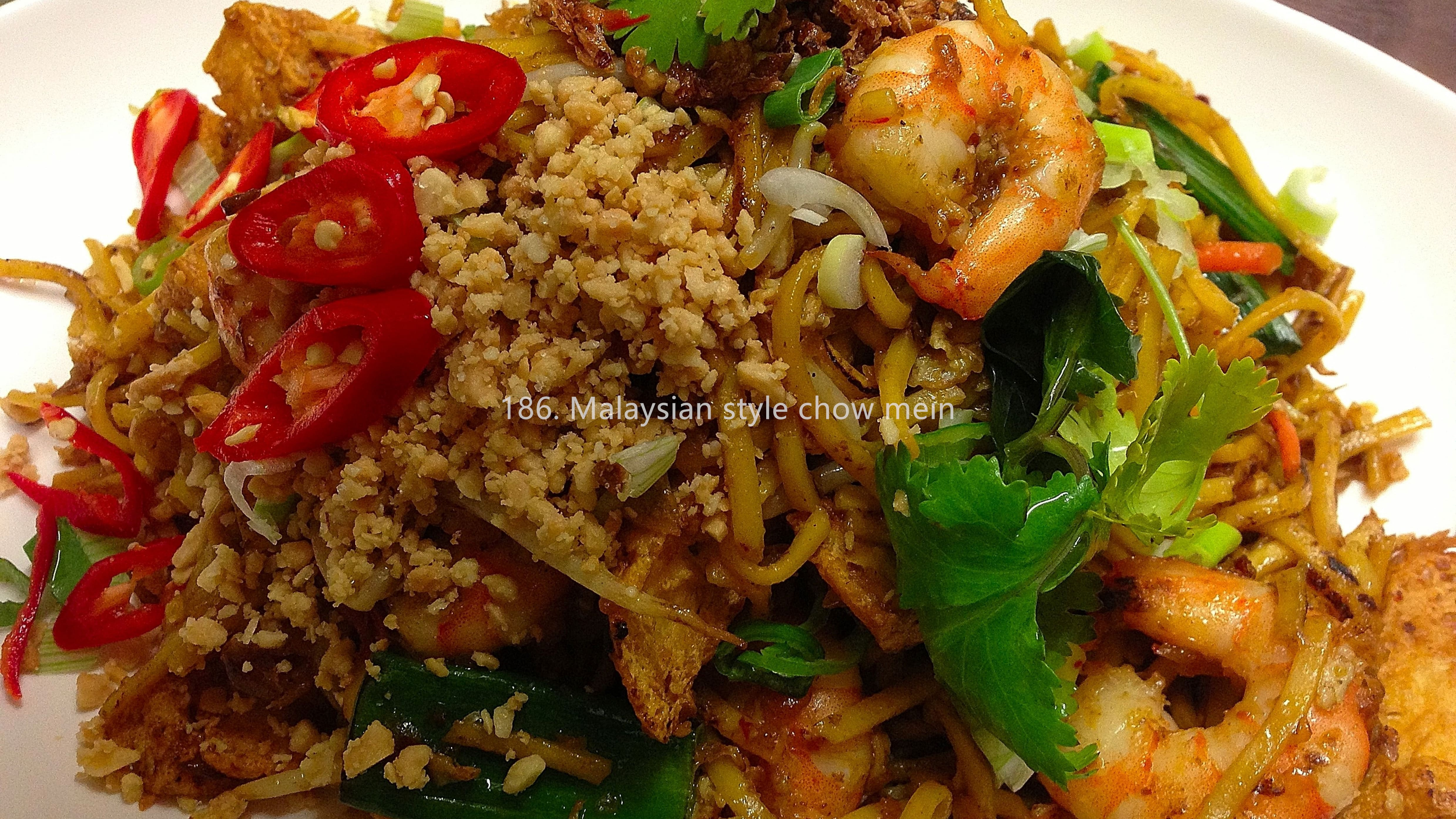 "Malaysian chow mein ""Mee Goreng"" with prawn and chicken"