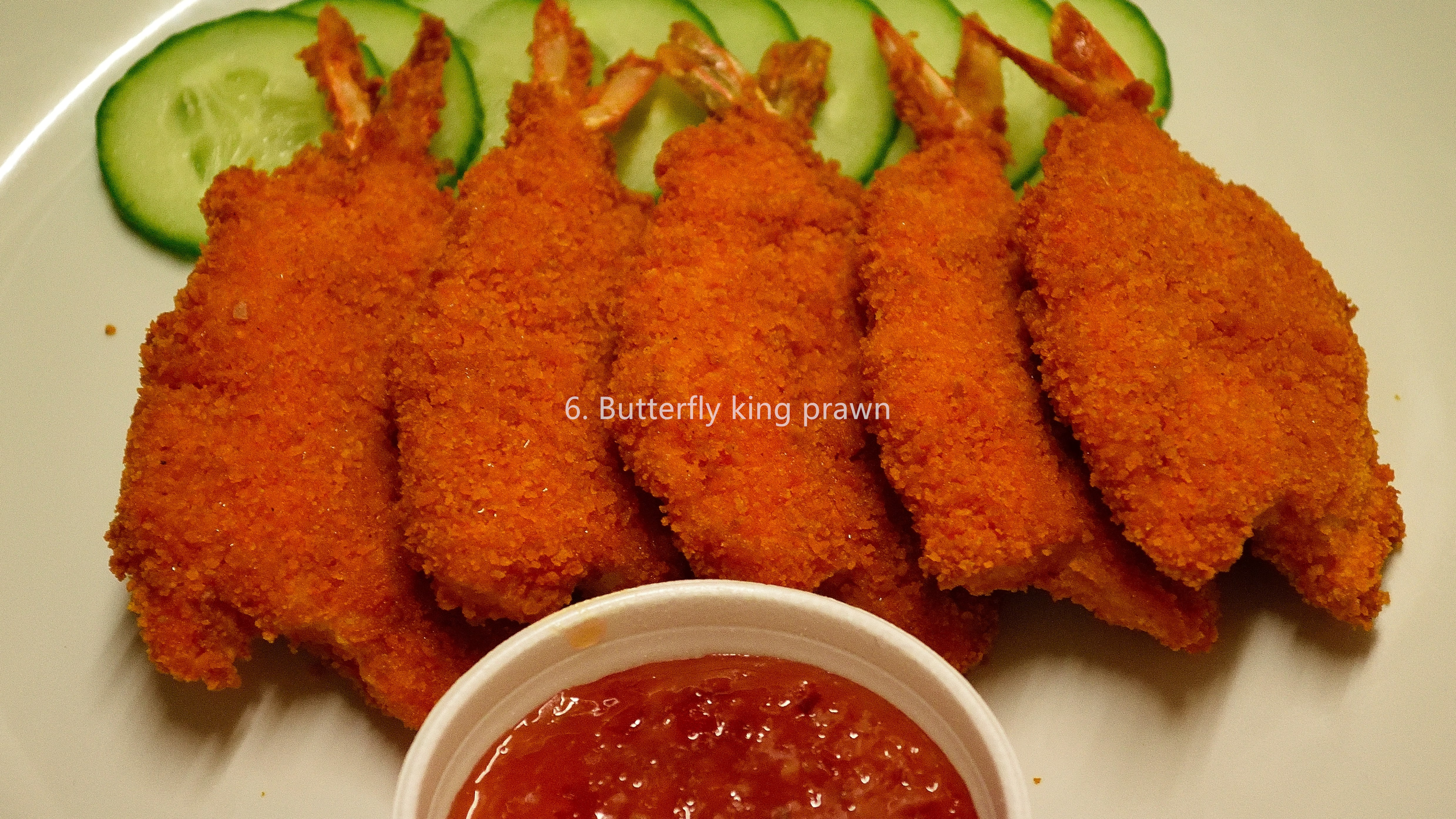 Butterfly king prawn with sweet chilli dip